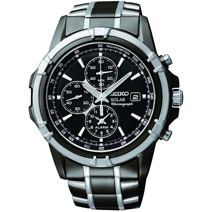 """<p><strong>SEIKO</strong></p><p>amazon.com</p><p><strong>$224.95</strong></p><p><a href=""""https://www.amazon.com/dp/B00B7FY14S?tag=syn-yahoo-20&ascsubtag=%5Bartid%7C10054.g.35351418%5Bsrc%7Cyahoo-us"""" rel=""""nofollow noopener"""" target=""""_blank"""" data-ylk=""""slk:Shop Now"""" class=""""link rapid-noclick-resp"""">Shop Now</a></p><p>A big, beefy chrono watch driven by Seiko's solar-powered movement? Yes! A thousand times yes!</p>"""