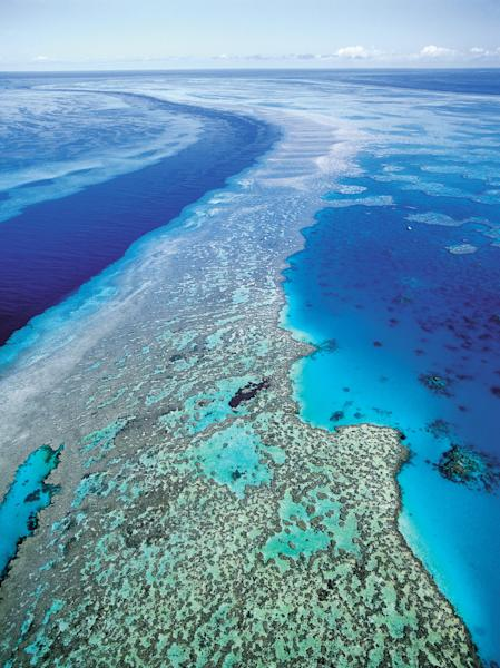 "FILE - In this Sept. 2001 file photo provided by provided by Queensland Tourism, an aerial view shows the Great Barrier Reef off Australia's Queensland state. Ocean acidification has emerged as one of the biggest threats to coral reefs across the world, acting as the ""osteoporosis of the sea"" and threatening everything from food security to tourism to livelihoods, the head of a U.S. scientific agency said Monday, July 9, 2012. (AP Photo/Queensland Tourism, File) EDITORIAL USE ONLY"