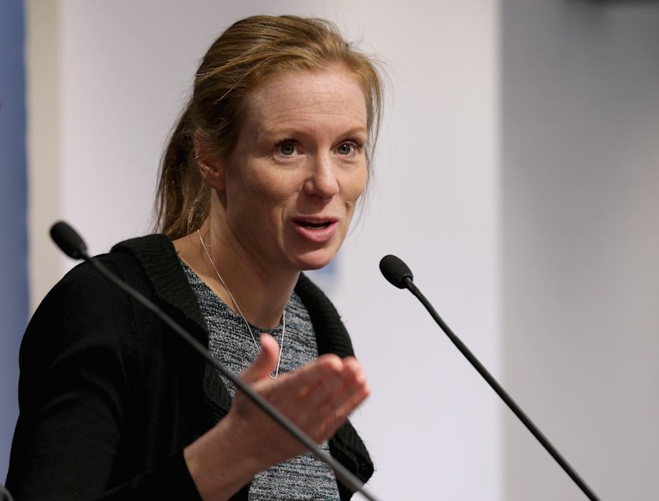 Facebook Head of Policy Managment Monika Bickert participates in a discussion and question-and-answer session about 'Internet Security and Privacy in the Age of Islamic State' at the Washington Institute for Near East Policy February 26, 2016 in Washington, DC. (Photo by Chip Somodevilla/Getty Images)