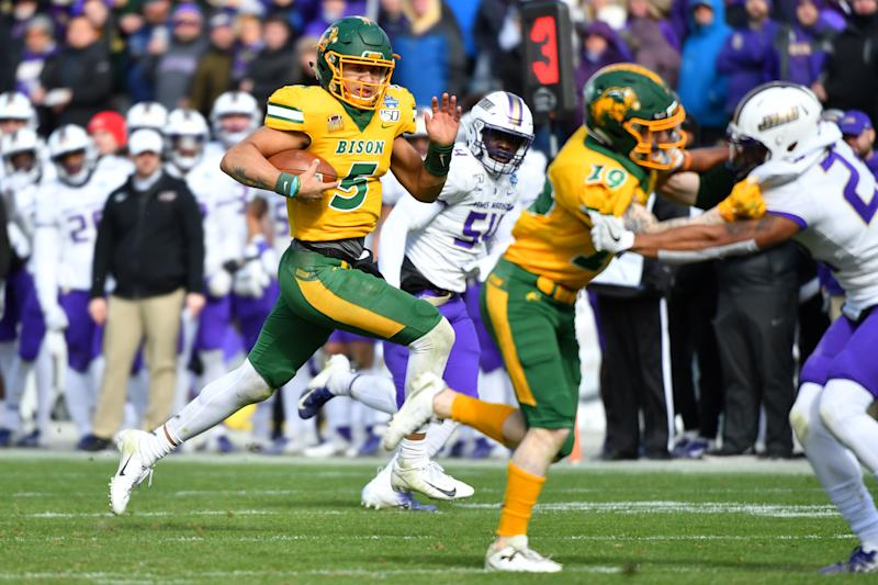 Trey Lance of the North Dakota State Bison runs the ball against James Madison during the Division I FCS Football Championship on Jan. 11, 2020. (Justin Tafoya/NCAA Photos via Getty Images)