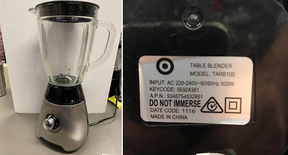 The recalled Target Stainless Steel Table Blender 1.5 L