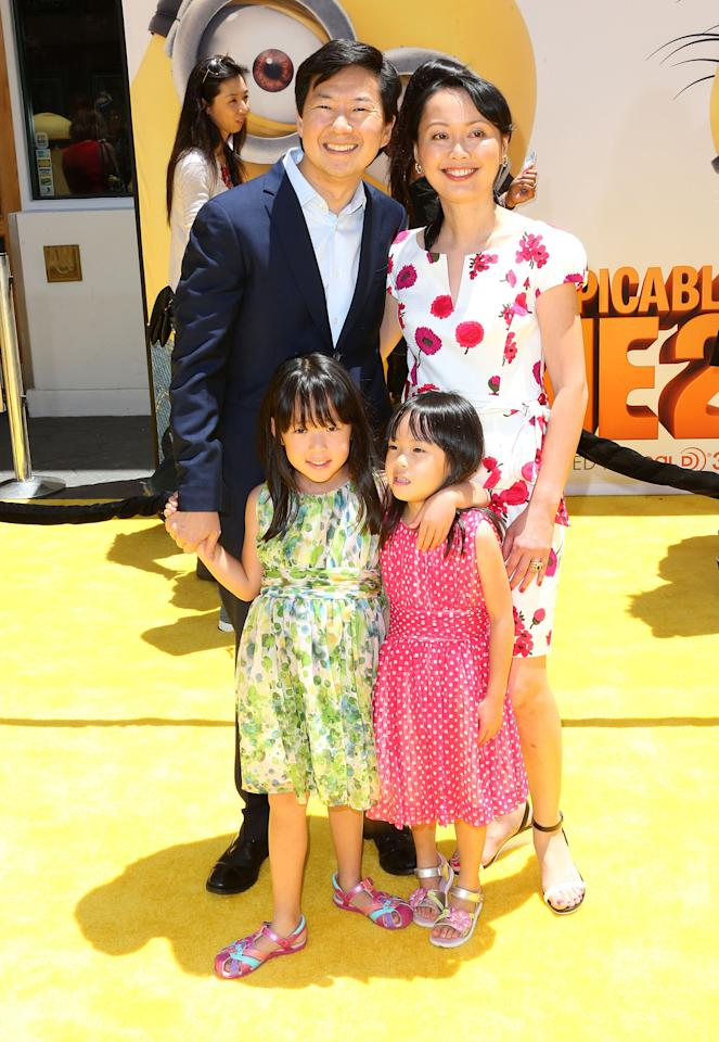 "UNIVERSAL CITY, CA - JUNE 22: Actor Ken Jeong (L) and his family attend the premiere of Universal Pictures' ""Despicable Me 2"" at the Gibson Amphitheatre on June 22, 2013 in Universal City, California. (Photo by Frederick M. Brown/Getty Images)"