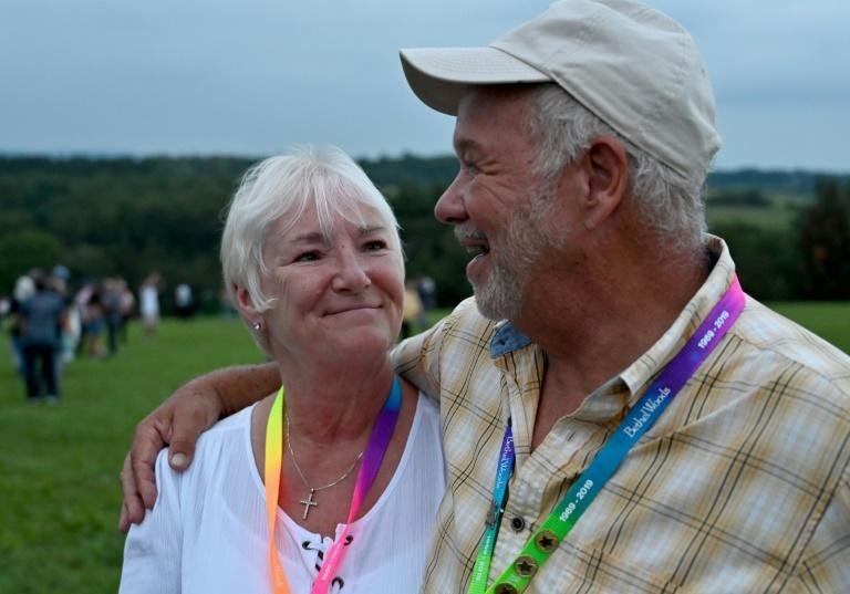 Bobbi and Nick Ercoline, the couple featured on the Woodstock album cover, returned to the legendary festival's original grounds for its 50th anniversary festivities