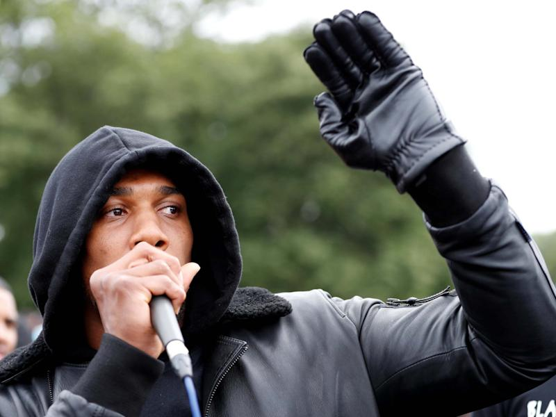 Anthony Joshua spoke at a Black Lives Matter protest in Watford on Saturday: Reuters
