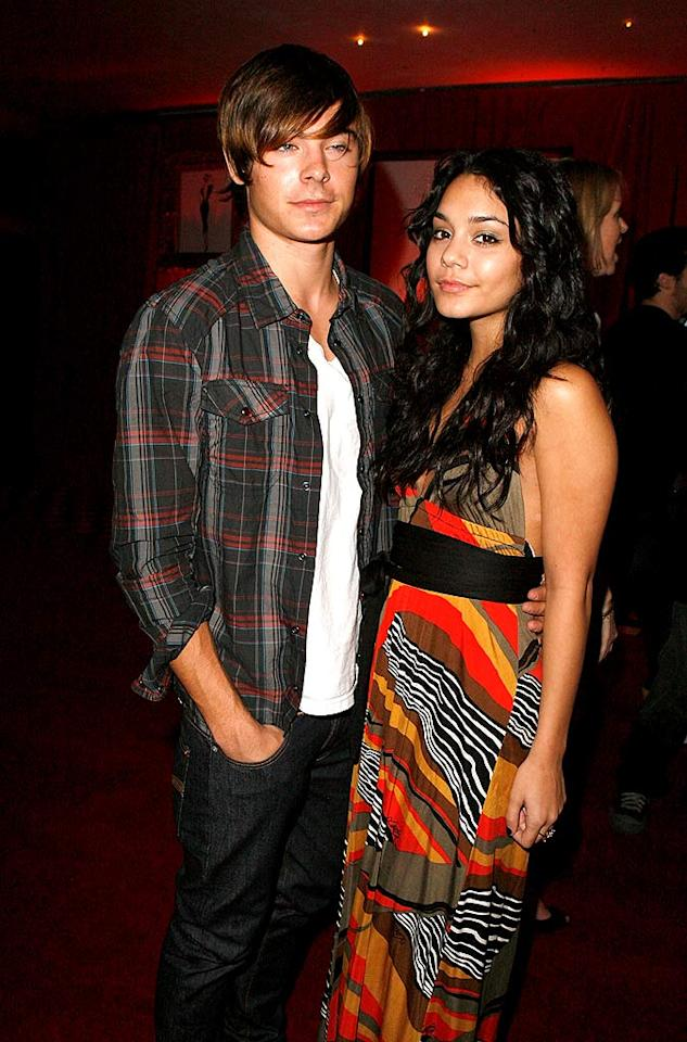"""A bemused Zac Efron and Vanessa Hudgens pose upon arriving at the event. Could they look any less interested? Jeff Vespa/<a href=""""http://www.wireimage.com"""" target=""""new"""">WireImage.com</a> - October 24, 2007"""