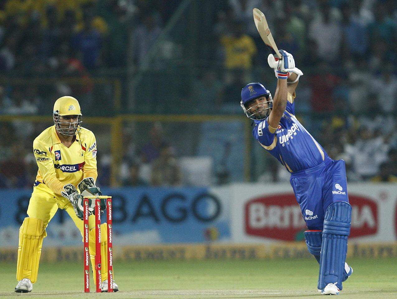 Rajasthan Royals batsman in action during the CLT20 1st Semi-Final between Rajasthan Royals and Chennai Super Kings at Sawai Mansingh Stadium in Jaipur on Oct. 4, 2013.