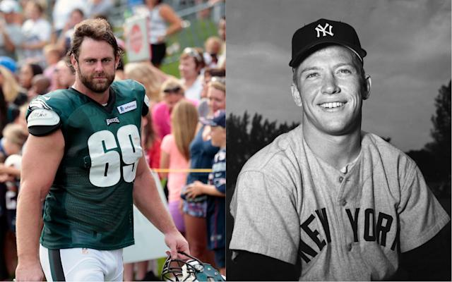 Retired NFL lineman Evan Mathis sold his 1952 Mickey Mantle rookie card for the near-record sum of $2.88 million. (Getty)
