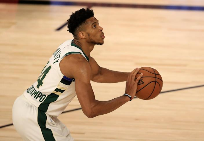 Giannis Antetokounmpo struggled at the free-throw line this season. (Photo by Mike Ehrmann/Getty Images)