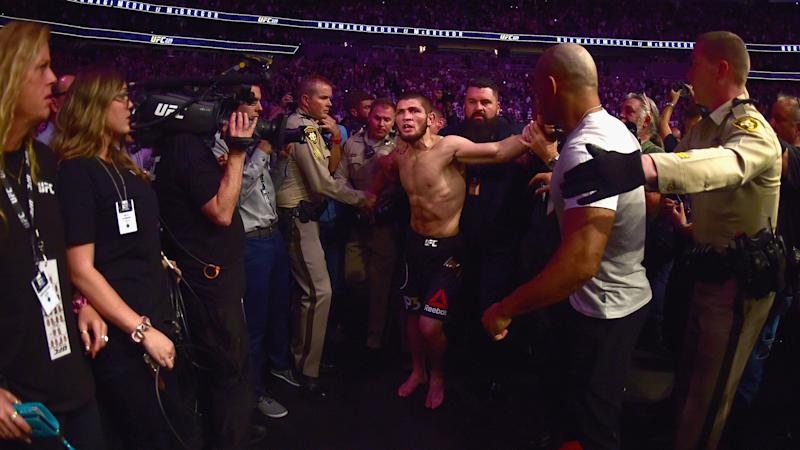 UFC 242: Khabib Nurmagomedov honors Dustin Poirier, takes shot at Conor McGregor in post-fight interview