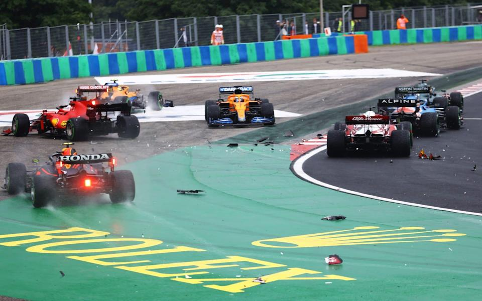 A general view of the crash at the start during the F1 Grand Prix of Hungary at Hungaroring on August 01, 2021 in Budapest, Hungary - Getty Images Europe