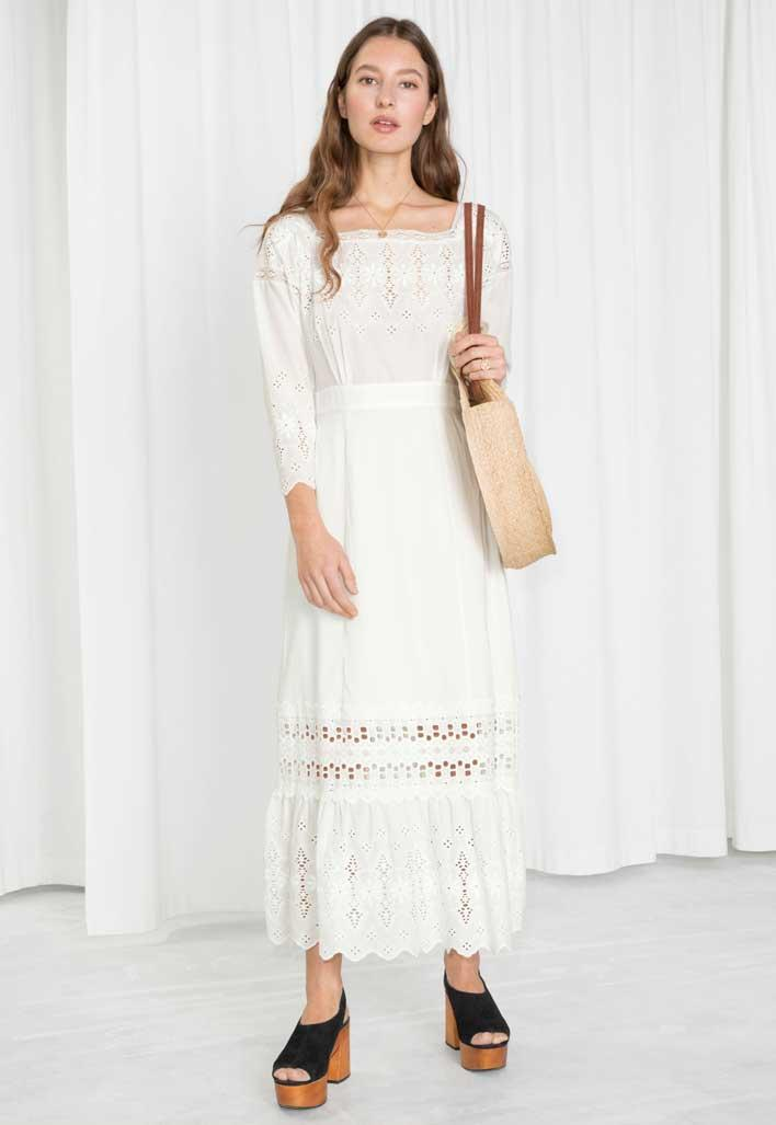Long sleeve eyelet maxi dress.