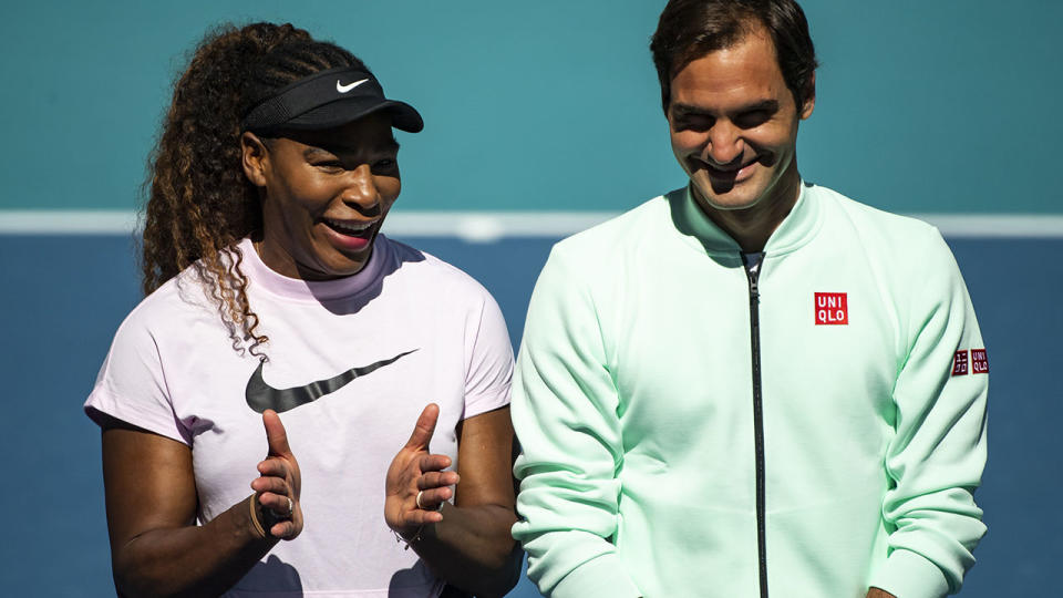 Serena Williams and Roger Federer, pictured here at the Miami Open in 2019.