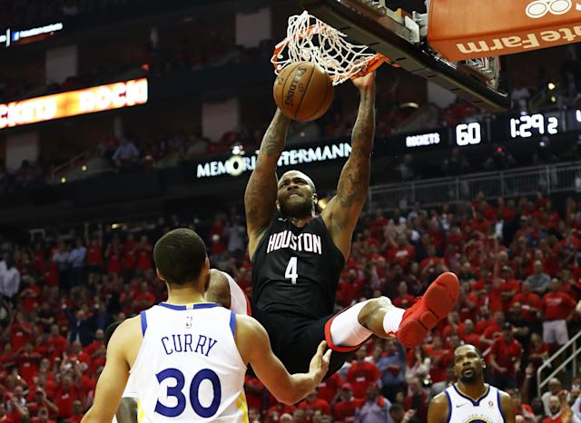 "<a class=""link rapid-noclick-resp"" href=""/nba/players/4163/"" data-ylk=""slk:P.J. Tucker"">P.J. Tucker</a> dunking in <a class=""link rapid-noclick-resp"" href=""/nba/players/4612/"" data-ylk=""slk:Stephen Curry"">Stephen Curry</a>'s face feels like a pretty apt summation of how Game 2 went for both the <a class=""link rapid-noclick-resp"" href=""/nba/teams/hou"" data-ylk=""slk:Houston Rockets"">Houston Rockets</a> and <a class=""link rapid-noclick-resp"" href=""/nba/teams/gsw"" data-ylk=""slk:Golden State Warriors"">Golden State Warriors</a>. (Getty)"