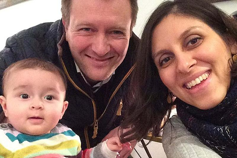 Nazanin Zaghari-Ratcliffe with her husband Richard Ratcliffe and their daughter Gabriella. (PA)