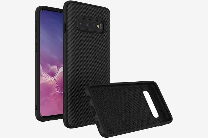 Photograph shows a Samsung Galaxy S10 phone with a black carbonfiber Rhinoshield Solidsuit case, from various angles.
