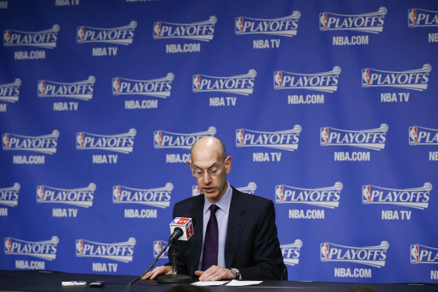 NBA Commissioner Adam Silver makes an opening statement during a news conference before Game 4 of an opening-round NBA basketball playoff series between the Memphis Grizzlies and the Oklahoma City Thunder on Saturday, April 26, 2014, in Memphis, Tenn. (AP Photo/Mark Humphrey)