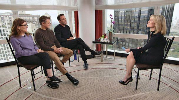 PHOTO: Ben Affleck and Matt Damon discuss collaborating again on a writing project after more than 20 years on 'Good Morning America,' along with their co-writer Nicole Holofcener, Oct. 13, 2021. (ABC )
