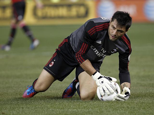 NEW YORK - AUGUST 08: Marco Amelia #1 of A.C. Milan gets to his feet after allowing a goal during their match against Real Madrid at Yankee Stadium on August 8, 2012 in New York City. (Photo by Jeff Zelevansky/Getty Images)