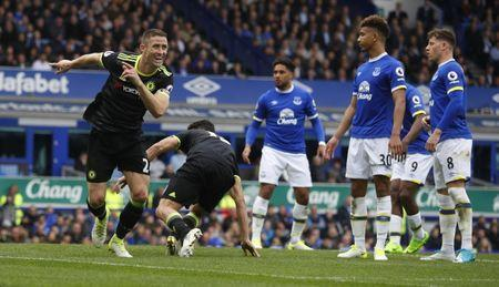 Britain Football Soccer - Everton v Chelsea - Premier League - Goodison Park - 30/4/17 Chelsea's Gary Cahill celebrates scoring their second goal Reuters / Phil Noble Livepic