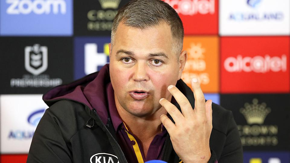 Pictured here, Anthony Seibold fronts the media during his stint as Brisbane Broncos coach.