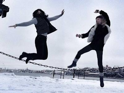 happy excited jumping