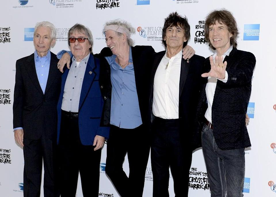 (Left to right) Charlie Watts, Bill Wyman, Keith Richards, Ronnie Wood and Mick Jagger. Watts, the long-time drummer of The Rolling Stones, has died (Jonathan Brady/PA) (PA Wire)