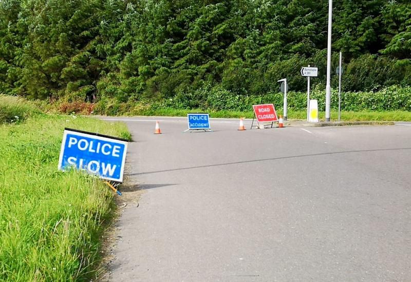 Emergency services at the spot on the A361 where a 16 year old was knocked down and killed. (SWNS)