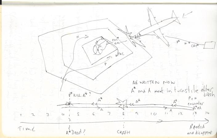 """A sketch writer-director Christopher Nolan did for """"Tenet."""""""