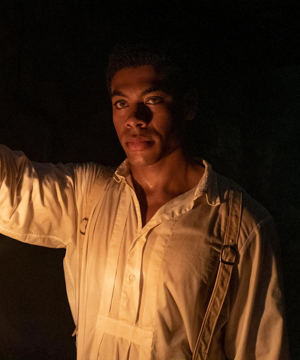 """<h2>Aaron Pierre plays Caesar Garner<br></h2><br>Caesar was sold to the Randall plantation in Georgia after being promised his freedom following his master's death in Virginia. A sharp and literate man — a trait he must hide <a href=""""https://americanexperience.si.edu/wp-content/uploads/2014/09/Literacy-as-Freedom.pdf"""" rel=""""nofollow noopener"""" target=""""_blank"""" data-ylk=""""slk:as an enslaved man"""" class=""""link rapid-noclick-resp"""">as an enslaved man</a> — Caesar has connections to the Underground Railroad prior to his and Cora's escape, ensuring their safe getaway from Georgia.<br><br>British actor Pierre was known for this stage and TV work prior to <em>The Underground Railroad</em>. He starred in the SyFy series Krypton and played Cassio in the Globe Theatre's 2018 run of Othello in London. <span class=""""copyright"""">Photo: Courtesy of Amazon Studios.</span>"""
