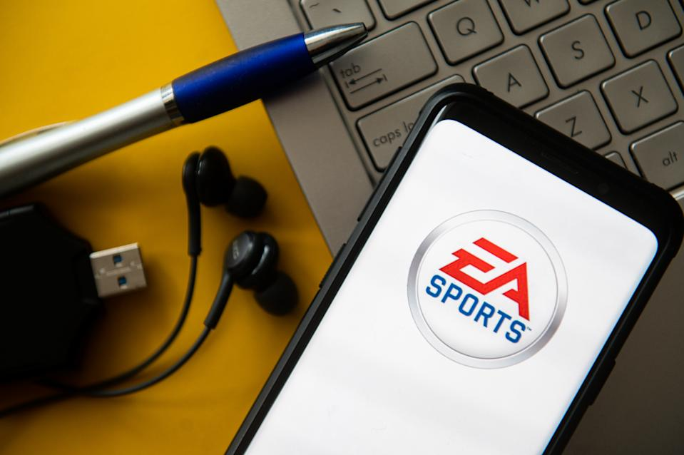 POLAND - 2020/10/20: In this photo illustration a EA Sports logo seen displayed on a smartphone. (Photo Illustration by Mateusz Slodkowski/SOPA Images/LightRocket via Getty Images)