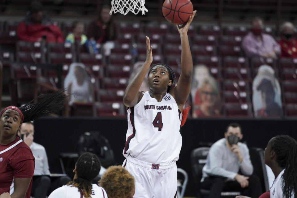South Carolina forward Aliyah Boston (4) attempts a shot during the first half of an NCAA college basketball game against Alabama Sunday, Jan. 31, 2021, in Columbia, S.C. (AP Photo/Sean Rayford)