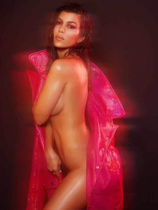 Kourtney Kardashian celebrates her birthday in her birthday suit. (Photo: Greg Swales for V Magazine)