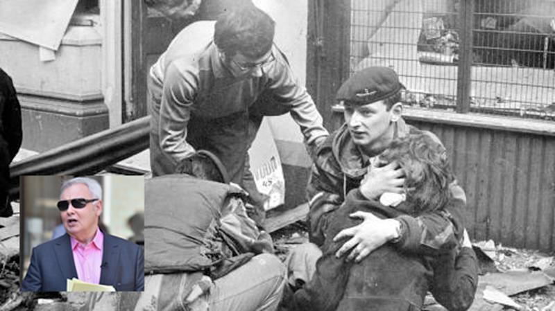 File picture of members of the Parachute Regiment comforting bomb victims in Belfast in 1972. Inset: Eamonn Holmes