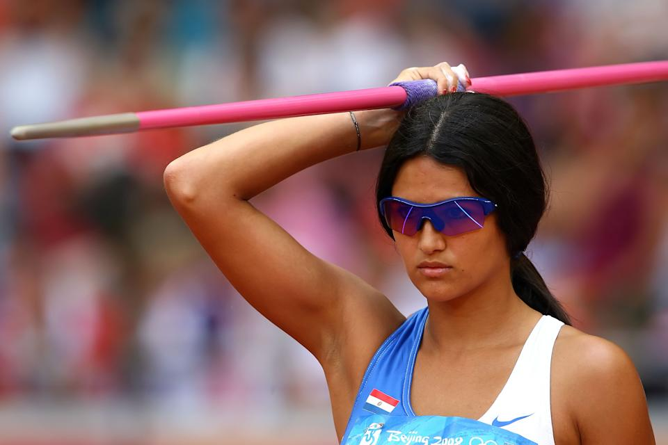 Leryn Franco of Paraguay competes in the Women's Javelin Qualifying Round held at the National Stadium on Day 11 of the Beijing 2008 Olympic Games on August 19, 2008 in Beijing, China. (Photo by Clive Brunskill/Getty Images)