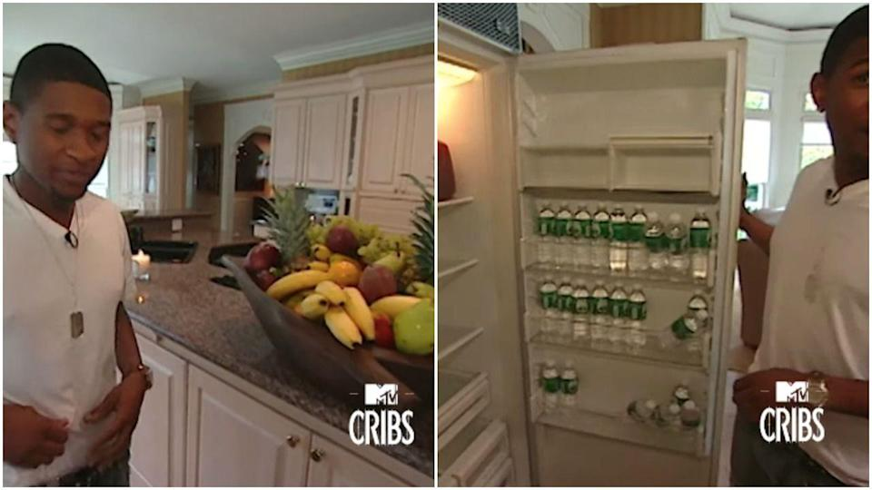 <p>Things Usher keeps in his kitchen: more fruit than one human could possibly consume and several bottles of water. That's it. That's all.</p>