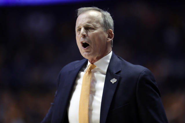 Tennessee head coach Rick Barnes is seen on the sidelines in the first half of the NCAA college basketball Southeastern Conference championship game against Auburn Sunday, March 17, 2019, in Nashville, Tenn. (AP Photo/Mark Humphrey)