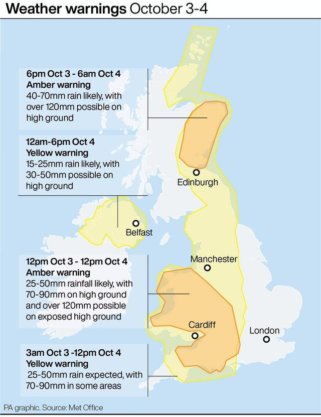 Weather warning October 3-4