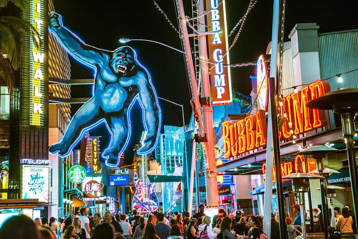 Los Angeles, United States - March 24, 2016: Universal CityWalk Hollywood is a three-block entertainment, dining and shopping promenade north of Los Angeles.