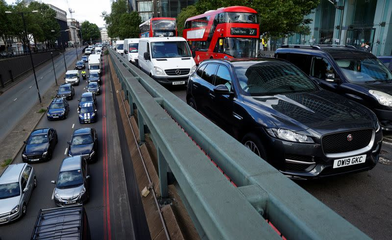 A view shows morning rush hour traffic, in central London