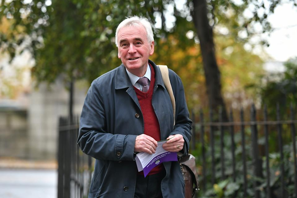 Shadow Chancellor John McDonnell arrives for a Labour clause V meeting on the manifesto at Savoy Place in London.