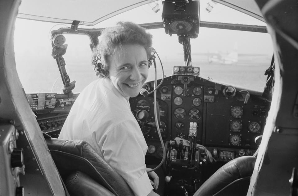 South African-born British pilot Yvonne Pope Sintes pictured seated in the cockpit of an aircraft at an aerodrome in England in 1964 when she had just become Britain's first female commercial airline captain. (Photo: Daily Express/Hulton Archive/Getty Images)