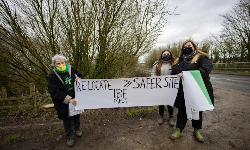Green party local leader Sarah Gleave and Guston residents protest against the site
