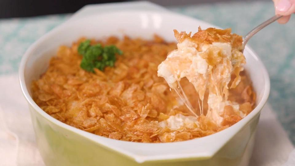 """<p><strong>Recipe: <a href=""""https://www.southernliving.com/recipes/hashbrown-casserole-recipe"""" rel=""""nofollow noopener"""" target=""""_blank"""" data-ylk=""""slk:Hashbrown Casserole"""" class=""""link rapid-noclick-resp"""">Hashbrown Casserole</a></strong></p> <p>Whether your holiday meal will be a brunch or dinner, this cheesy classic will be a welcome addition to the menu. </p>"""