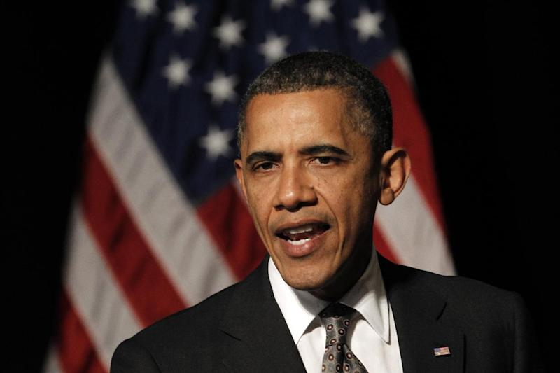 President Barack Obama speaks at a fundraising reception at The Henry Ford in Dearborn, Mich., Wednesday, April 18, 2012. (AP Photo/Paul Sancya)