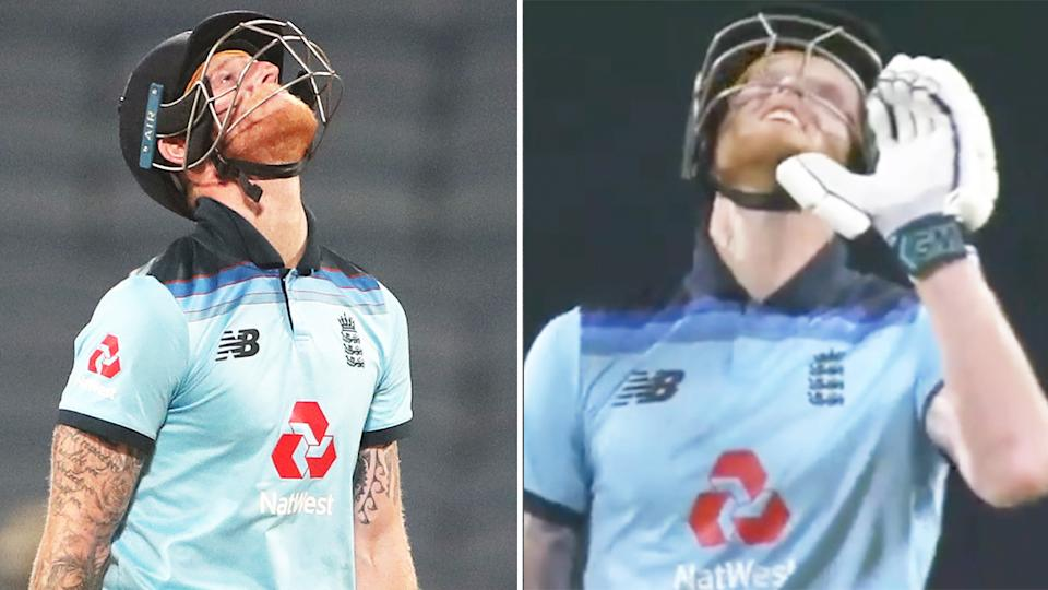 Ben Stokes (pictured) gestures to his late father after he was dismissed.