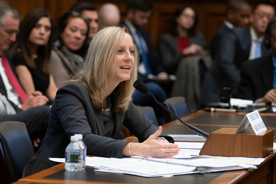 Kathy Kraninger, director of the Consumer Financial Protection Bureau, takes questions from the House Financial Services Committee's biannual review of the CFPB, on Capitol Hill in Washington, Thursday, March 7, 2019. (AP Photo/J. Scott Applewhite)