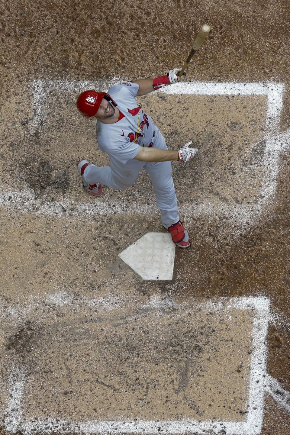 St. Louis Cardinals' Paul Goldschmidt watches his pop out with bases loaded during the sixth inning of a baseball game against the Milwaukee Brewers Sunday, Sept. 5, 2021, in Milwaukee. (AP Photo/Morry Gash)