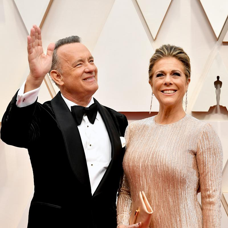 Tom Hanks and Rita Wilson wave to the crowd at the 92nd Annual Academy Awards at Hollywood and Highland on February 09, 2020 in Hollywood, California.