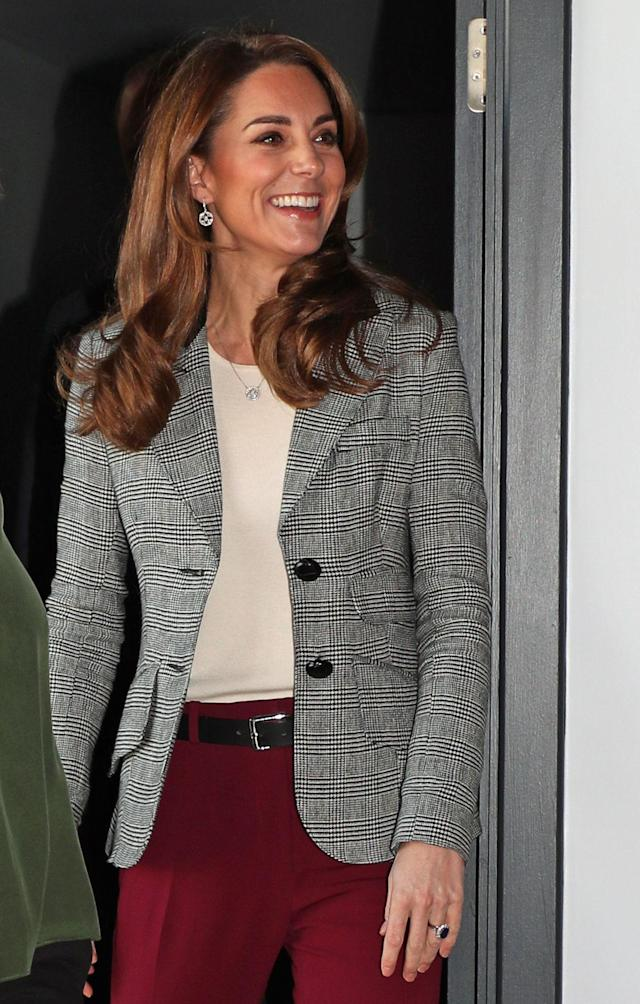 The Duchess of Cambridge recycled a checked blazer from Smythe, which she last wore in 2018. [Photo: Getty]