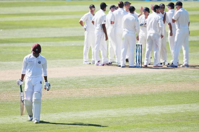 DUNEDIN, NEW ZEALAND - DECEMBER 04: Kieran Powell of the West Indies walks off after being dismissed by Tim Southee of New Zealand during day two of the first test match between New Zealand and the West Indies at University Oval on December 4, 2013 in Dunedin, New Zealand. (Photo by Hannah Johnston/Getty Images)